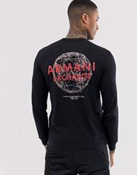 Armani Exchange Long Sleeve Logo T Shirt With Back Print In Black