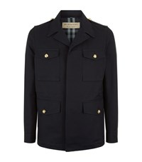 Burberry Gold Button Military Jacket Male Navy