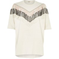 River Island Womens White Embellished Fringe Oversized T Shirt
