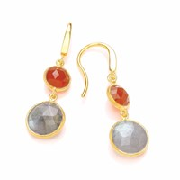 Dione London Artemis Carnelian And Labradorite Two Stone Circle Drop Earrings Gold Grey Yellow
