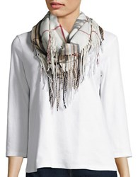 Lord And Taylor Plaid Fringe Loop Scarf Ivory