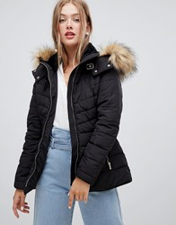 New Look Fitted Padded Parka Jacket Black