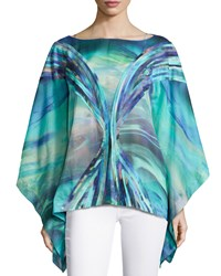 Josie Printed Cotton Voile Top Blue Multi