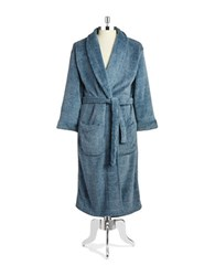 Black Brown Long Fleece Robe Navy