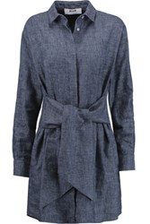 Msgm Knotted Front Cotton And Linen Blend Chambray Shirt Dress Mid Denim