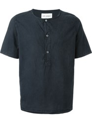 Our Legacy 'Weaved Henley' Plain Button Down T Shirt Black