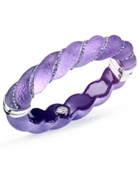 Sis By Simone I Smith Platinum Over Sterling Silver Bracelet Crystal And Purple Lucite Bangle