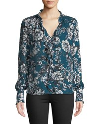 Parker Tilly Printed Ruffle Combo Blouse Blue