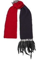 Prada Beaded Feather Trimmed Wool Scarf Red