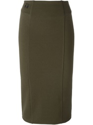 T By Alexander Wang Fitted Midi Skirt Green