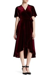 Soprano Velvet Envelope Midi Dress Red