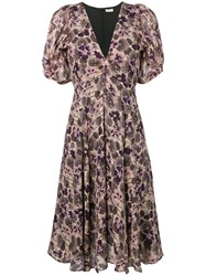Masscob Floral Print Silk Dress Purple