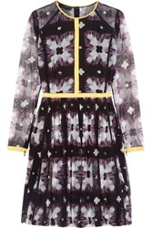 Burberry Printed Mesh Mini Dress Black