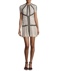 J. Mendel Short Sleeve Striped Lace Dress Blush Black Blush Noir