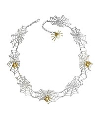Bernard Delettrez Bronze Spiders On Silver Web Necklace