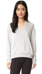 Beyond Yoga Cozy Fleece V Neck Hoodie Heather Grey