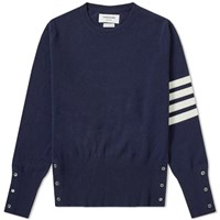 Thom Browne Arm Stripe Cashmere Crew Knit Blue
