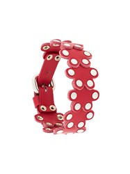 Red Valentino Flower Puzzle Leather Bracelet Red