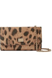 Dolce And Gabbana Leopard Print Textured Leather Wallet Leopard Print