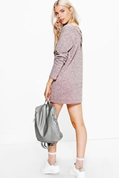 Boohoo Cross Back Sweatshirt Dress Blush