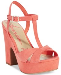American Rag Jamie T Strap Platform Dress Sandals Only At Macy's Women's Shoes Coral