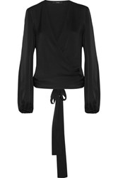 Ellery Missionary Silk Blend Satin Wrap Blouse Black