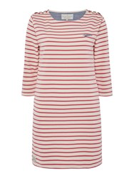 Brakeburn Bella 34 Sleeve Crew Neck Dress White And Pink White And Pink