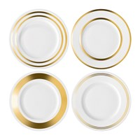 Lsa International Deco Assorted Gold Starter Dessert Plate Set Of 4