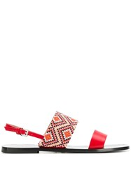 Pollini Beaded Sandals Red