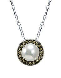 Lord And Taylor 8Mm White Pearl Marcasite Sterling Silver Halo Pendant Necklace