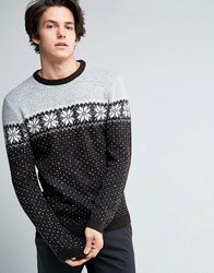 Asos Jumper With Snowflake Chest Charcoal Grey