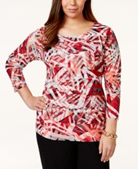 Alfani Plus Size Tiered Printed Mesh Top Only At Macy's