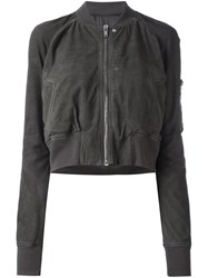 Rick Owens Cropped Bomber Jacket Grey