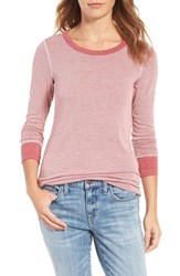 Treasure And Bond Women's Old School Thermal Tee Red Bloom Mini Stripe