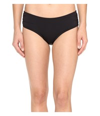 Michael Michael Kors Villa Del Mar Shirred Bikini Bottom Black Women's Swimwear