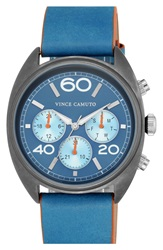 Vince Camuto Multifunction Leather Strap Watch 50Mm Blue