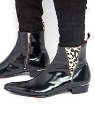 Jeffery West Adam Ant Leather Zip Boots Black