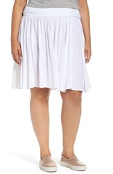 Three Dots Plus Size Women's Colette Full Jersey Skirt White