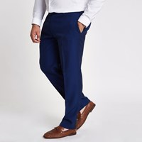 River Island Big And Tall Blue Slim Fit Suit Trousers