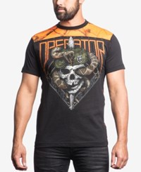 Affliction Men's Edge Graphic Print T Shirt Black Orange