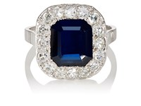 Stephanie Windsor Antiques Women's Art Deco Cluster Ring Blue