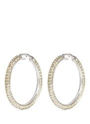 Kenneth Jay Lane Glass Crystal Rhodium Plated Hoop Clip Earrings Yellow