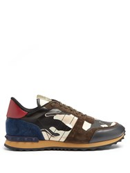 Valentino Rockrunner Leather And Suede Trainers Navy Multi