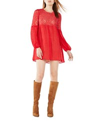 Bcbgmaxazria Kitra Lace Peasant Dress Red