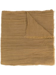 Rick Owens Frayed Edge Scarf Brown