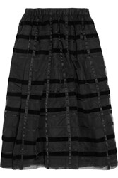 Comme Des Garcons Striped Velvet And Organza Midi Skirt