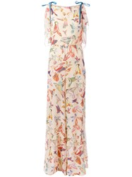 Red Valentino Bird Print Jumpsuit Nude Neutrals