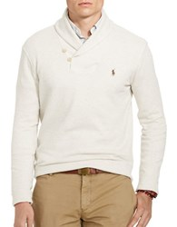 Polo Ralph Lauren Shawl Collar Ribbed Cotton Pullover Faded Cream