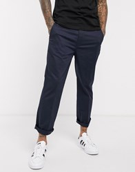 Levi's Straight Fit Cropped Chinos Pressed Crease Front In Baltic Navy Wash