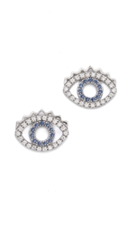 Kenzo Mini Eye Earrings Blue Silver